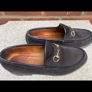 Ladies Gucci Brown Suede Silver Horsebit Loafers